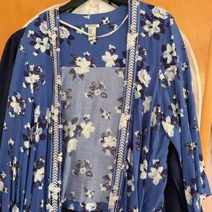 Forever 21 Floral Blue Open Front Kimono Cardigan